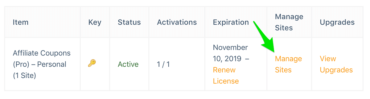 Account Licenses Manage Sites